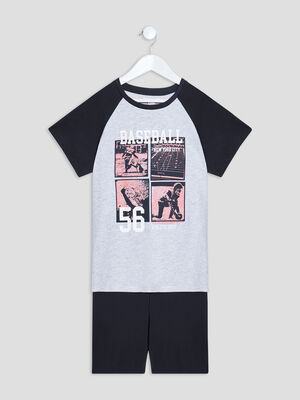 Ensemble pyjama 2 pieces noir garcon