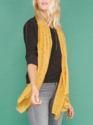 Foulard fin imprime plumes jaune moutarde femme