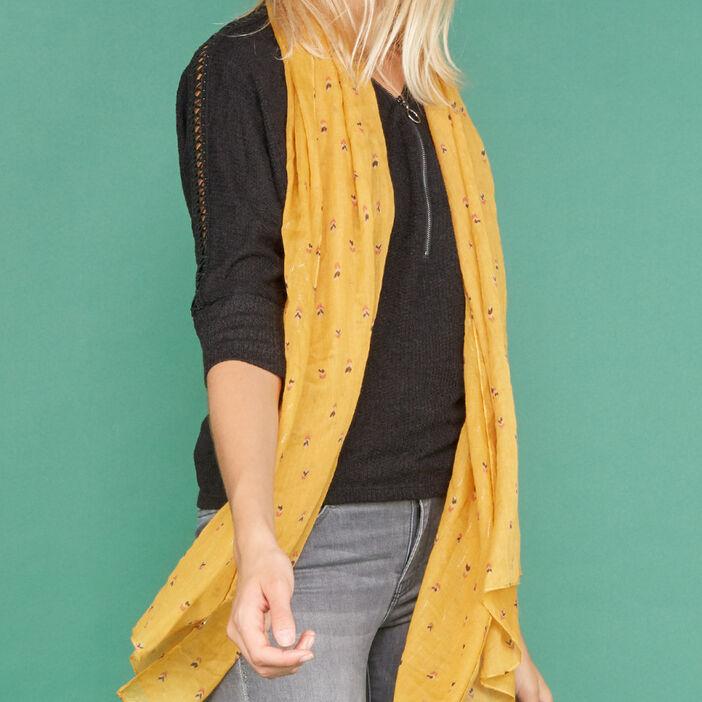Foulard fin imprimé plumes femme jaune moutarde