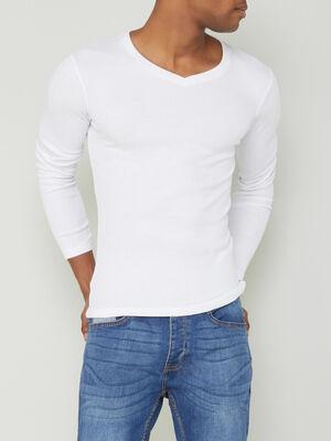 T shirt en coton uni blanc homme