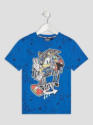 T shirt manches courtes Sonic bleu garcon