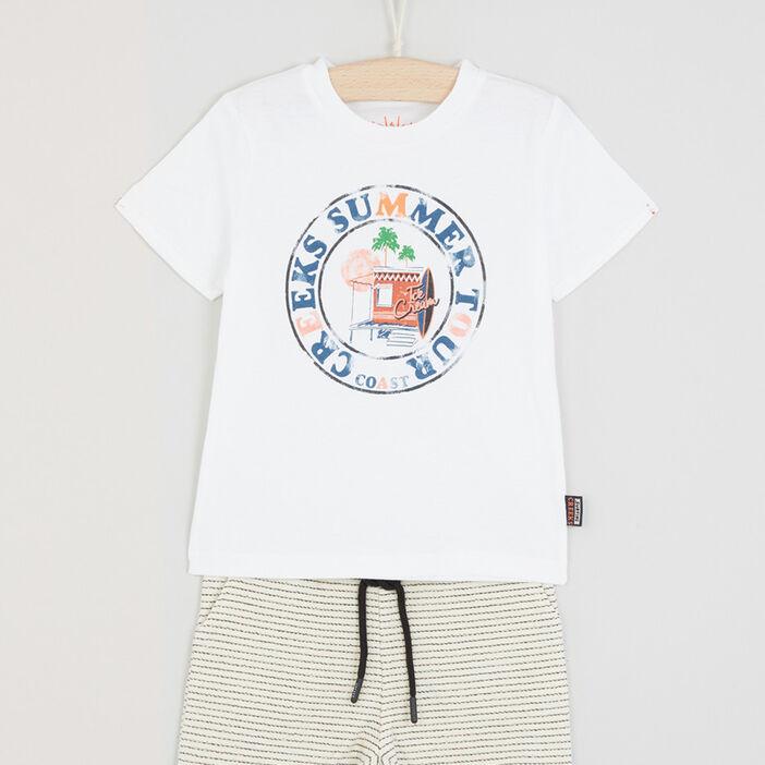 Ensemble 2 pièces T-shirt short garçon ecru