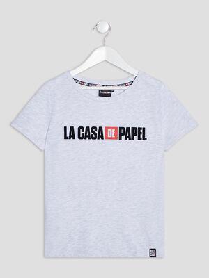 T shirt Casa de Papel gris clair fille