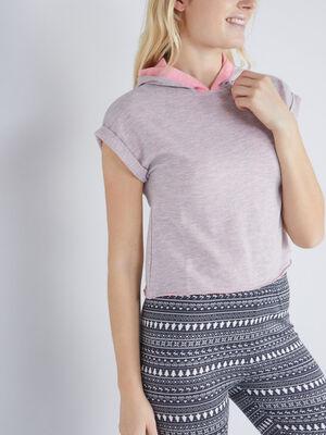 Haut de pyjama T shirt capuche rose clair femme