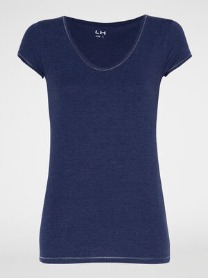 T shirt chine col V bleu marine femme