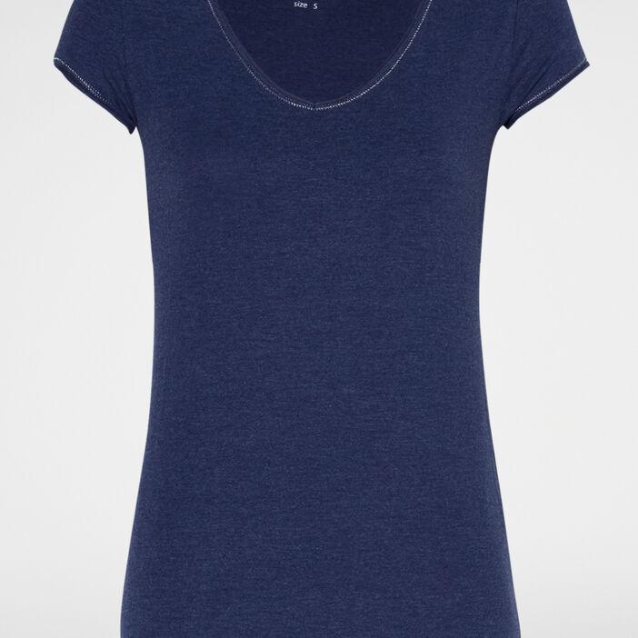 T-shirt chiné col V femme bleu marine