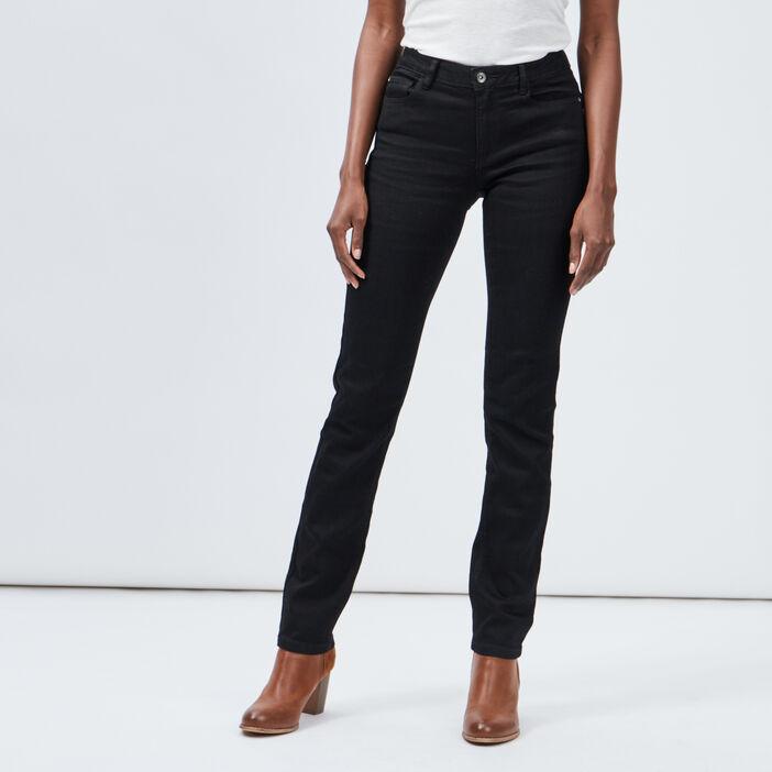 Jeans regular taille basse femme noir