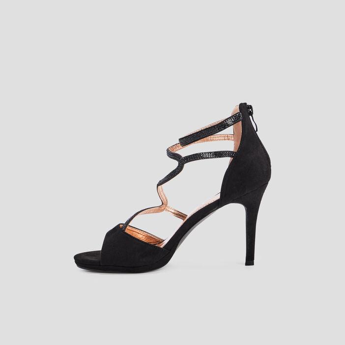Sandales à talons avec strass femme noir