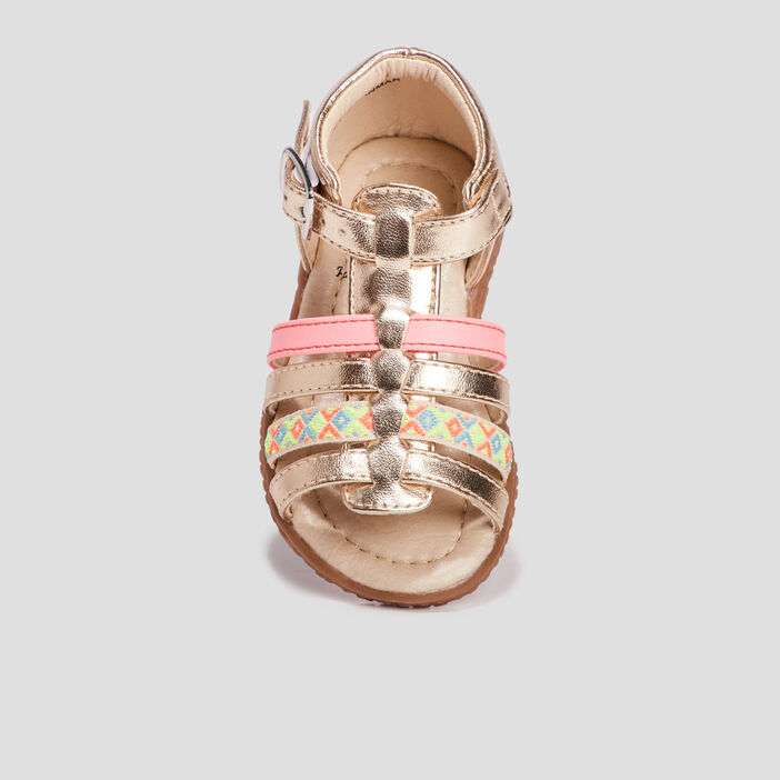Sandales bébé fille jaune or