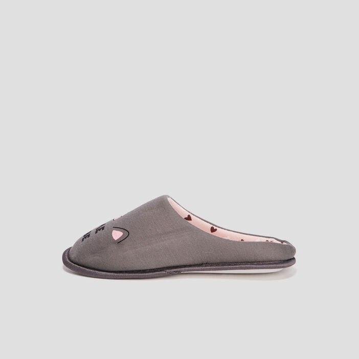 Chaussons mules femme gris