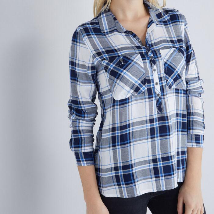 Chemise à carreaux femme bleu marine