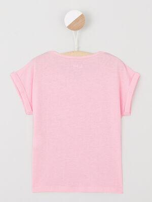 T shirt fluide manches courtes rose fluo fille