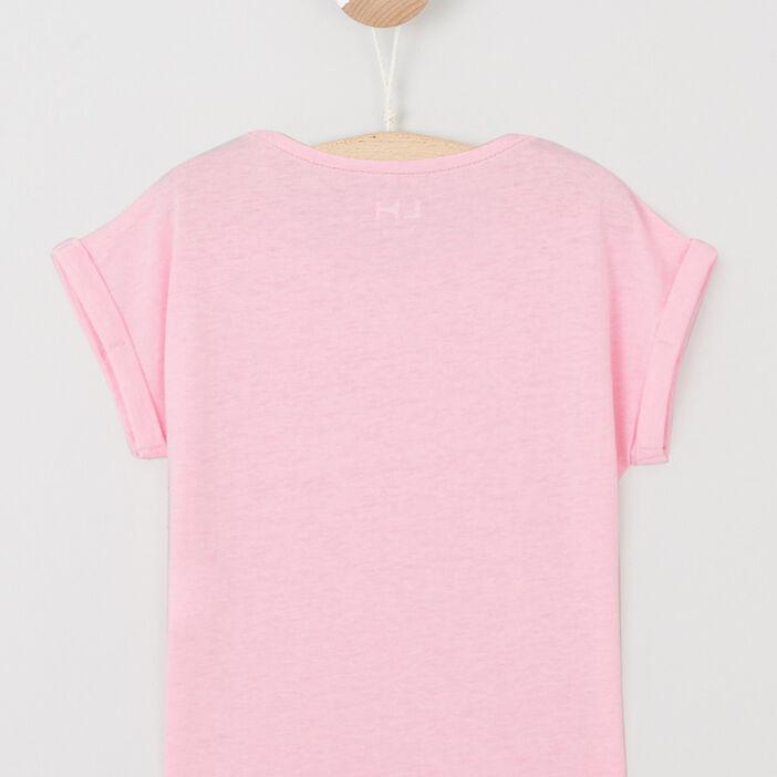 T-shirt fluide manches courtes fille rose fluo