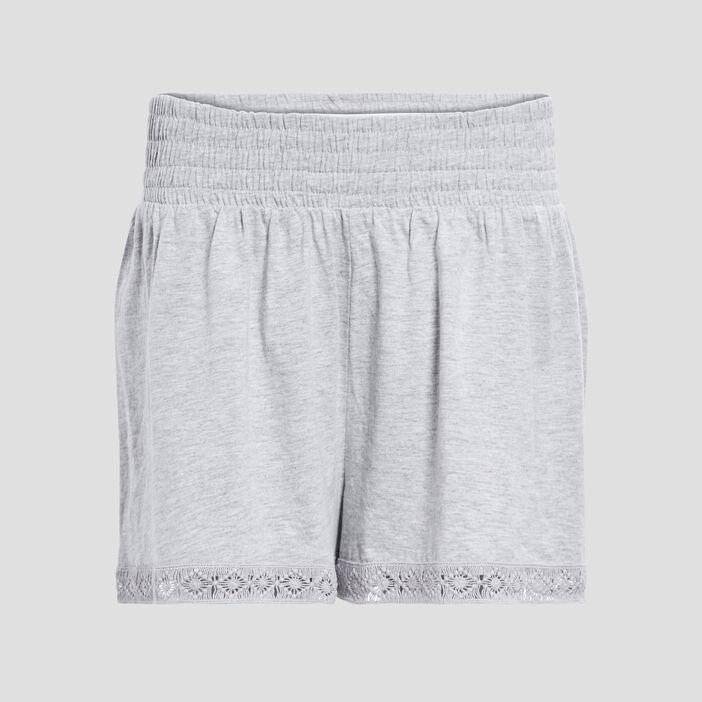 Short droit taille smockée femme gris
