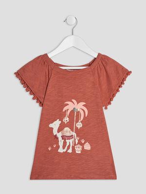 T shirt manches courtes orange fonce fille