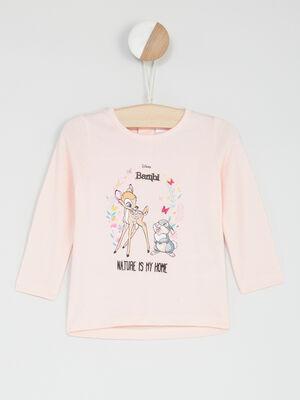 T shirt manches longues Bambi rose clair bebef