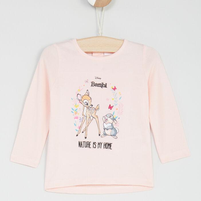 T-shirt manches longues Bambi bébé fille rose clair