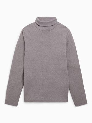 T shirt uni manches longues gris garcon