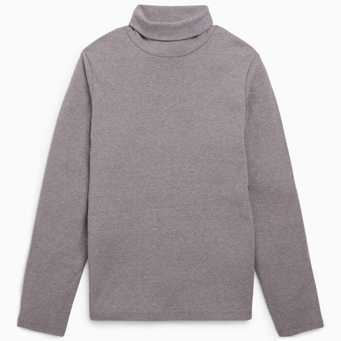 T-shirt uni manches longues garçon gris