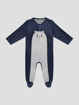 Dors bien effet velours bleu marine bebe