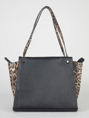 Cabas avec touches leopard noir femme