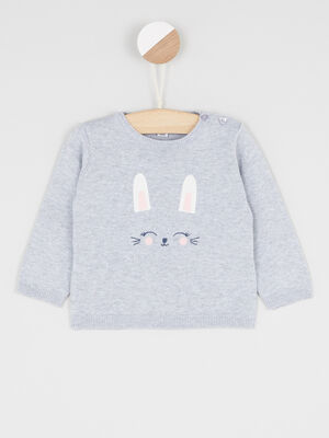 Pull col rond lapin brode gris fille