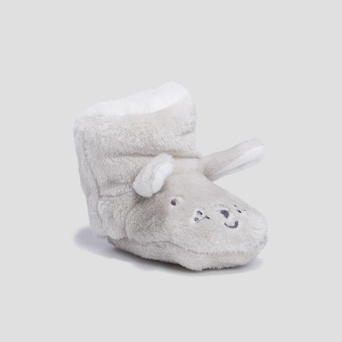 Chaussons bottines bébé fille gris