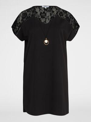 Robe manches courtes avec dentelle noir femme