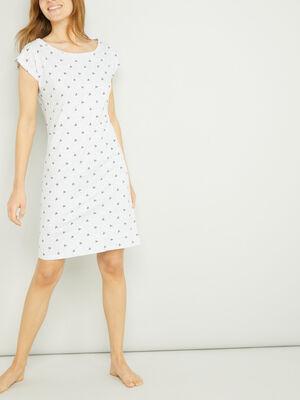 Chemise de nuit 100 coton gris clair femme