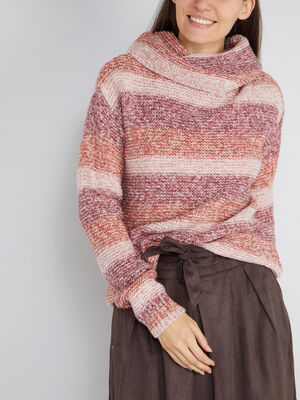 Pull chine raye col boule rose femme