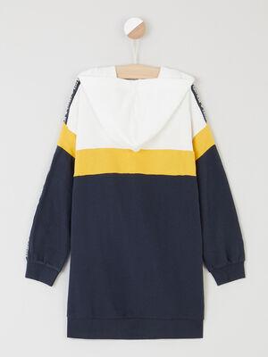 Robe sweatshirt color block capuche bleu marine fille