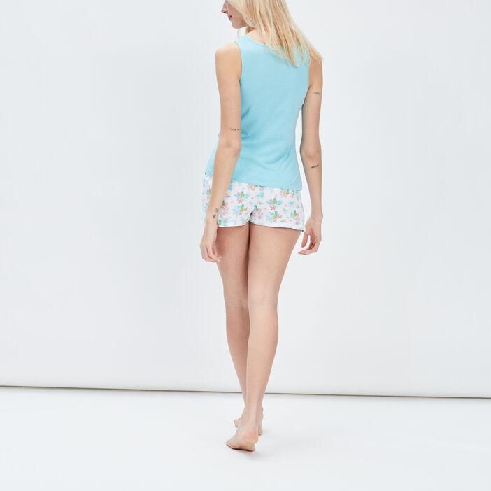 Ensemble pyjama 2 pièces femme bleu turquoise