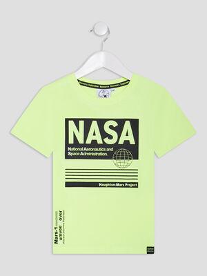 T shirt manches courtes Nasa jaune fluo garcon