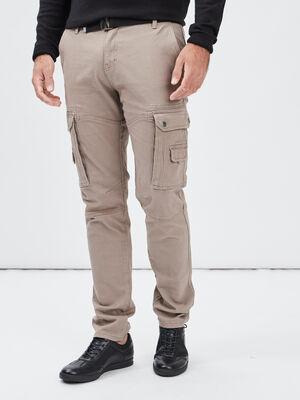 Pantalon droit ceinture taupe homme