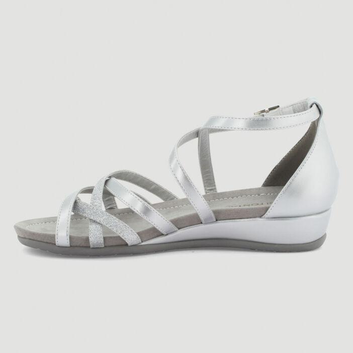 Sandales talon fermé femme couleur argent