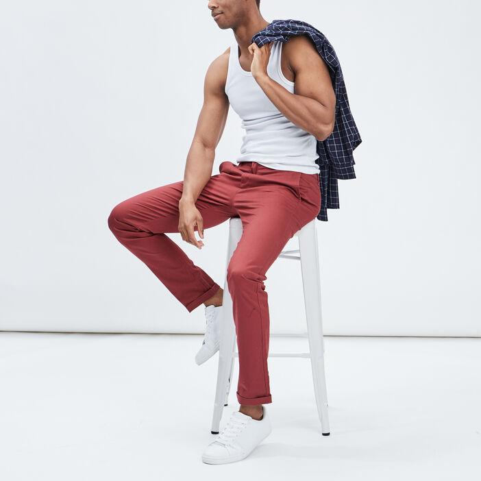 Pantalon straight homme rouge