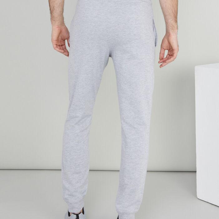 Jogging uni coton mélangé homme gris