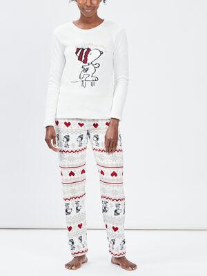Ensemble de pyjama Snoopy ecru femme