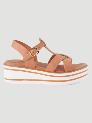 Sandales cuir talon compense raye beige fille