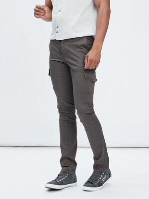 Pantalon battle slim stretch gris fonce homme