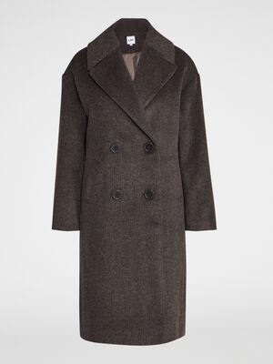 Manteau long chine large col marron femme