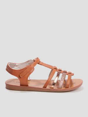Sandales spartiates Creeks marron fille