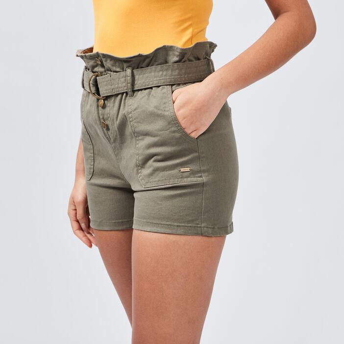 Short ample ceinturé femme vert kaki