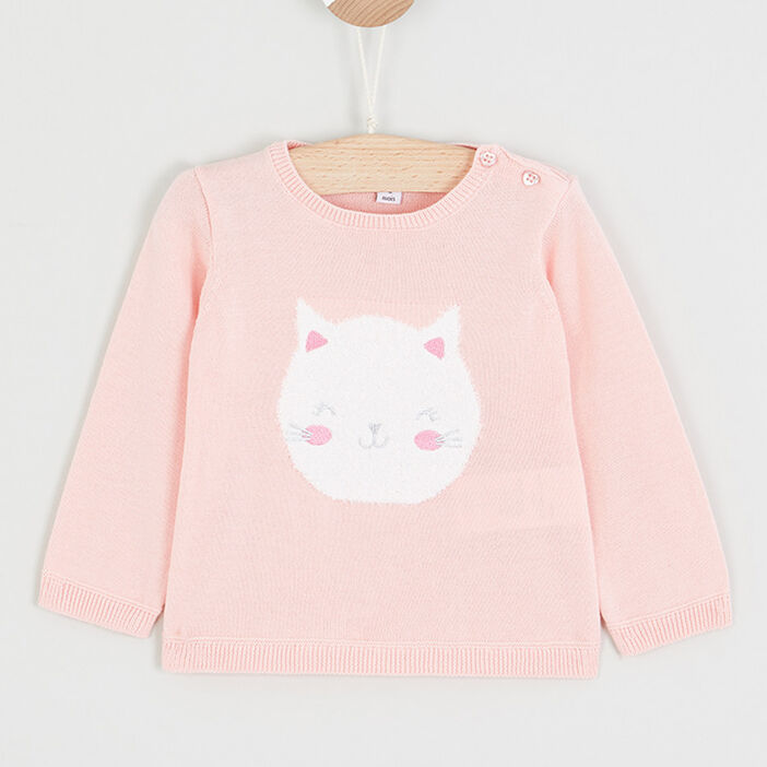 Pull col rond lapin brodé fille rose clair
