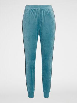 Pantalon de nuit en velours bleu canard femme