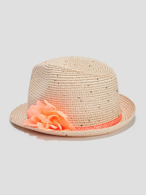 Chapeau a ruban et fleur multicolore fille