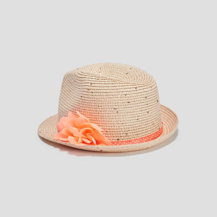Chapeau à ruban et fleur fille multicolore