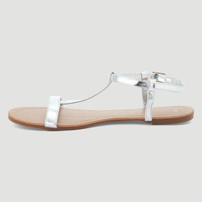 Nu-pieds avec bride femme couleur argent