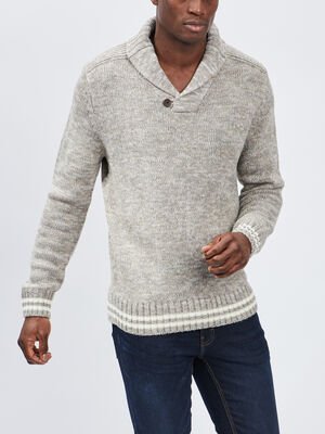 Pull avec col chale beige homme