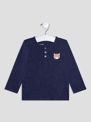 T shirt manches longues bleu marine bebeg